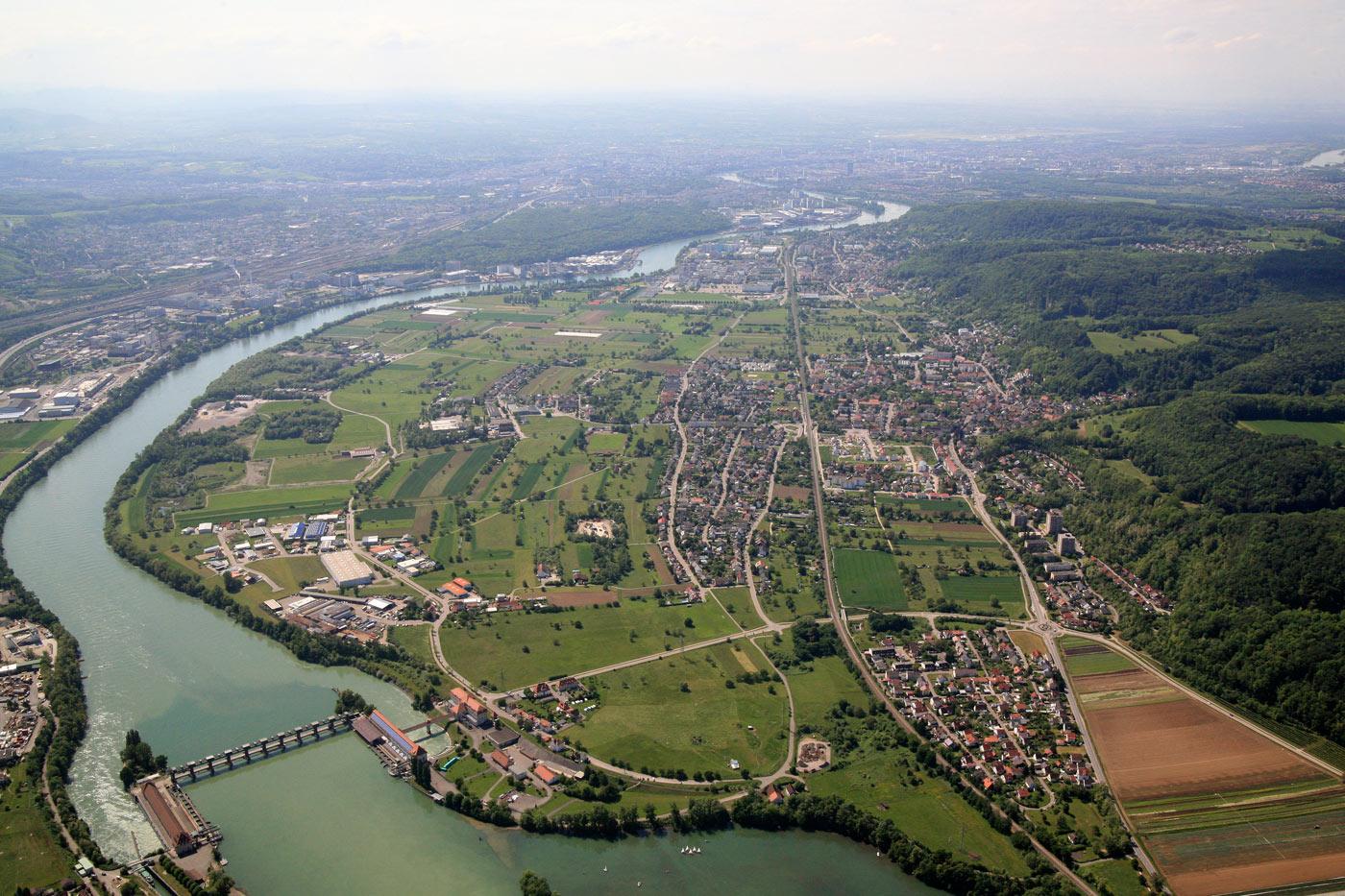 Luftbild von Rheinfelden aus über Wyhlen