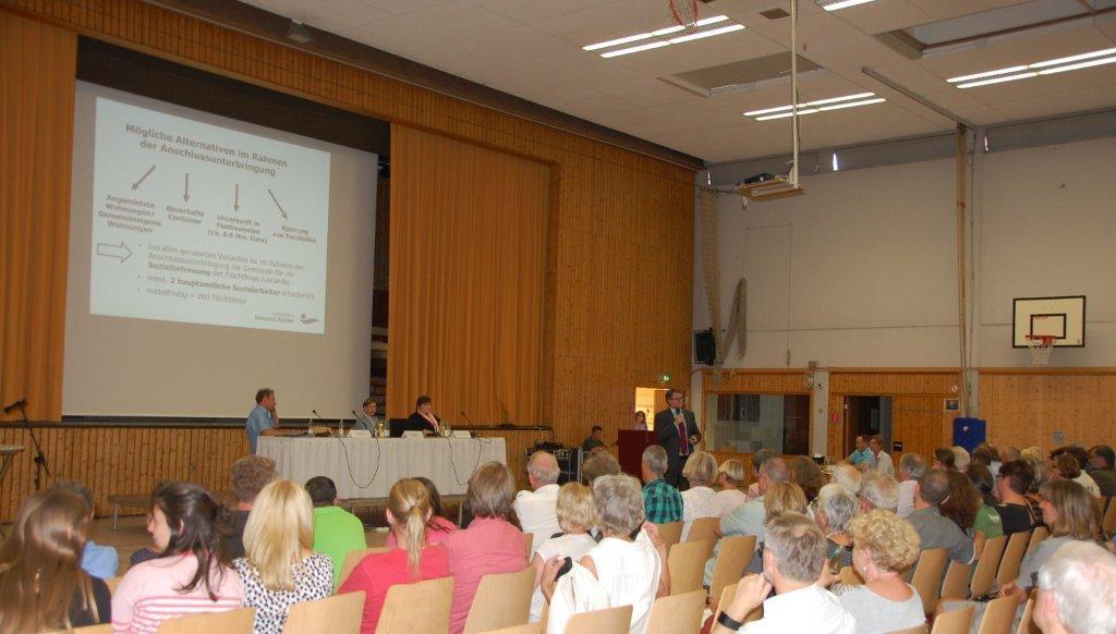 Bürgerinformation Flüchtlingsunterkunft Grenzach-Wyhlen 08.07 Dr. Benz informiert über die untersuchten Alternativen zur Gemeinschaftsunterkunft