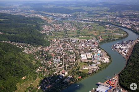 Luftbild über Grenzach